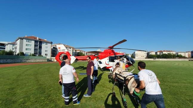 Ciddi yanıkları bulunan vatandaş helikopter ambulansı ile sevk edildi