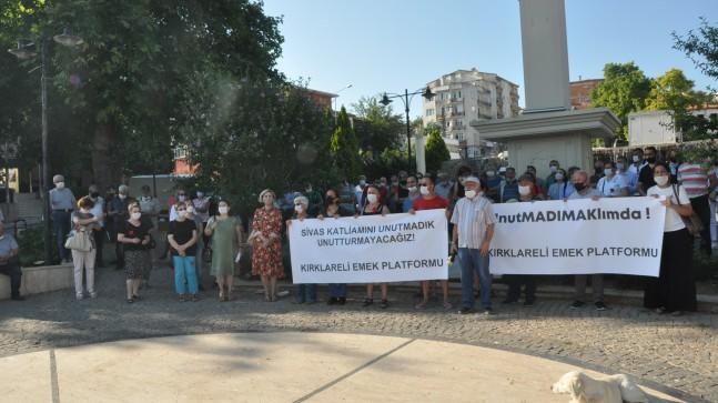 Sivas katliamında yaşamını yitirenler Kırklareli'nde anıldı